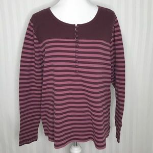 Caslon Striped Maroon & Pink Half Button Thermal